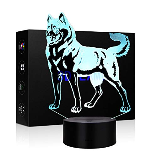 3D Lamp LED Night Light Animal Wolf Decor Table Desk Optical Illusion Lamps 7 Color Changing Lights Table Desk Lamp for Home Office Childrenroom Theme Decoration and Kiddie Kids Children Family Holida
