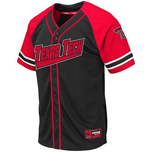 (Colosseum Mens Texas Tech Red Raiders Wallis Baseball Jersey - L)