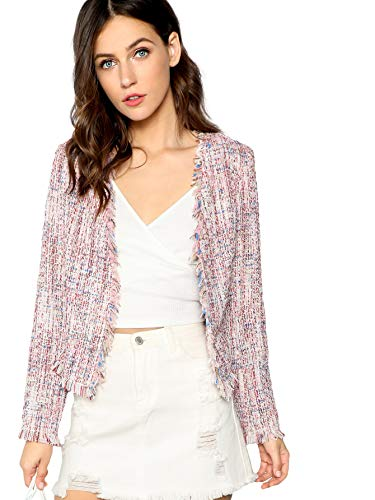 Milumia Women's Contrast Pearl Beading Braided Tape Frayed Trim Tweed Blazer Multicolored-Pink XS