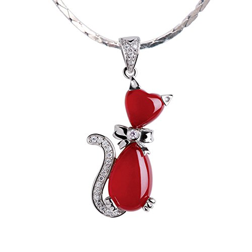 iSTONE Natural Gemstone Red Agate 925 Sterling Silver Kitten Shape Pendant Necklace 16'' ()