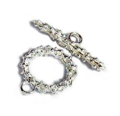 Sterling Wreath Silver Round - 1 set .925 Sterling Silver Round Flower Wreath Toggle Clasp 14.8mm/Findings/Bright
