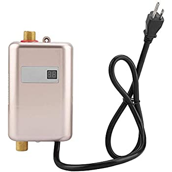 Water Heater, 110V 3000W Mini Electric Tankless Instant Hot Water Heater with LCD Display for Bathroom Kitchen Washing (US Plug)(Gold)