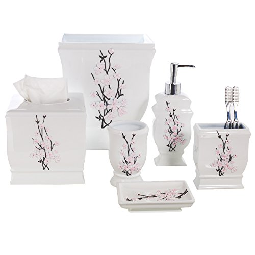 Creative Scents Vanda 6- Piece Bathroom Accessories Set- Includes Decorative Soap Dispenser/ Soap Dish/ Tumbler/ Toothbrush Holder/ Tissue Cover/ Wastebasket (Complete Vanity)