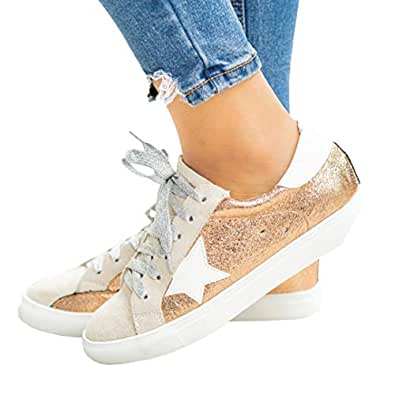 Womens Star Sneakers Fashion Platform Low Top Glitter Sparkle Slip On Lace Up Flats Shoes Gold