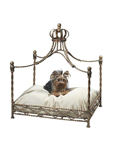 MyHabit Antique Gold Iron Crown Canopy Pet Bed, Gold, 24.5x28.5x19.5