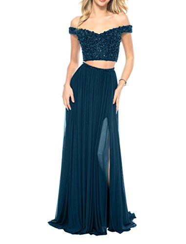 Festlichkleider Linie Sommer Chiffon teilig Damen Zwei Tinte Sexy Rock Abendkleider Blau Brau A Partykleider La mia Langes Ballkleider v6HvU