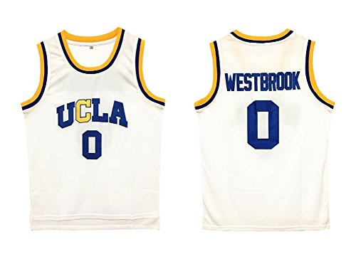 fZoe Basketball T-Shirts Mens UCLA Russel Westbrook #0 Basketball Jersey S-XXL Size White Color