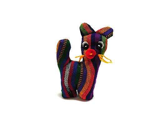Mia Jewel Shop Cat Mini Handcrafted Guatemalan Multicolored Woven Cotton Striped Pattern Button Eyed Stuffed Animal Toy Doll Kids Cultural Collectible ()