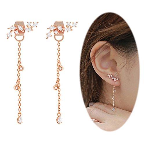 Leaf-Chandelier-Dangle-Earrings-Ear-Studs-Tassel-Crawler-Earrings-Cuff-Climber-Rhinestone-Clip-on-Jewelry