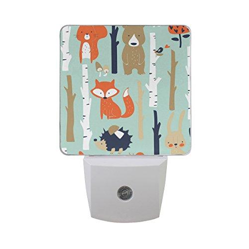 JOYPRINT Led Night Light Cute Fox Bear Bird Bunny Tree, Auto Senor Dusk to Dawn Night Light Plug in for Kids Baby Girls Boys Adults Room