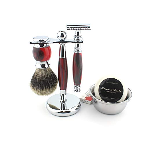 Shaving Gift Kit for Men,Yunlep Luxury Grooming Wet Shaving Set Including Razor with 10 Replacement Blades,Chrome Stand,Bowl,Shaving Soap,Shaving Brush (Red)