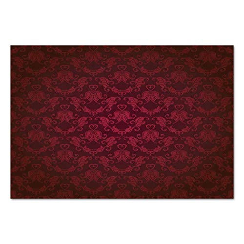 (VAMIX Sticker [ Maroon,Victorian Damask Pattern with Vignette Effect Royal Revival Ancient Rich Motifs Decorative,Maroon Black ] Self-Adhesive Vinyl Wallpaper/Removable Modern)