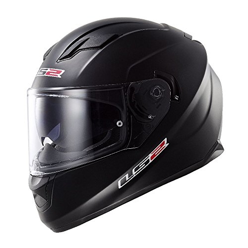 LS2 Stream Solid Full Face Motorcycle Helmet With Sunshield (Matte Black, X-Large)