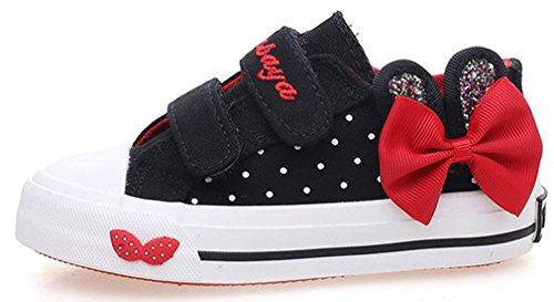 iDuoDuo Girls Twinkle Rabbit Ear Polka Dot Bowknot Canvas Shoes (Toddler/Little Kid/Big Kid) (9 M US Toddler, (Rabbit Ears For Sale)