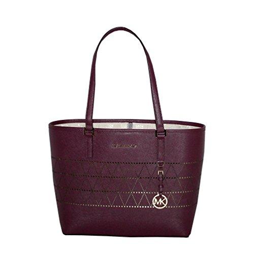 MICHAEL Michael Kors Women's Jet Set Travel Carry All Medium TOTE Leather Handbag (Plum) by MICHAEL Michael Kors