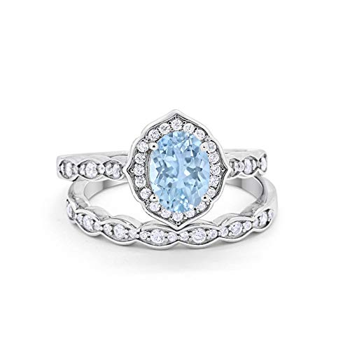 Blue Apple Co. Two Piece Art Deco Vintage Style Wedding Engagement Bridal Set Ring Band Oval Round Simulated Aquamarine Cubic Zirconia 925 Sterling Silver - Round Aquamarine Set Wedding