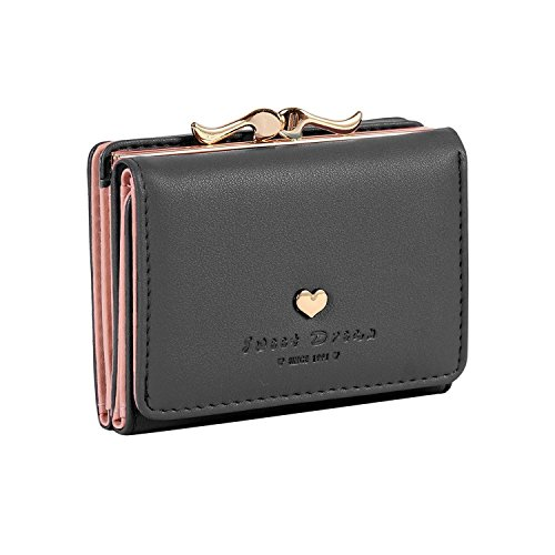 Jastore Girls Womens Small Clutch Leather Purse Cards Holder Wallet (Black) by Jastore