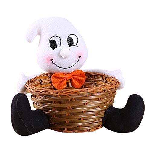 Gbell Kids Halloween Doll Candy Basket Toys- Fruit Pumpkin Witch Bowl Ghost Home Decor Hand-Woven for Kids Girls Boys Bedroom Decoration,Supermarkets, Stores, Home, Hotels Decoration,1Pcs (White)