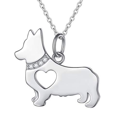 FLYOW 925 Sterling Silver Hollow Heart Corgi Dog Pendant Necklace Jewelry for Women Girls,18