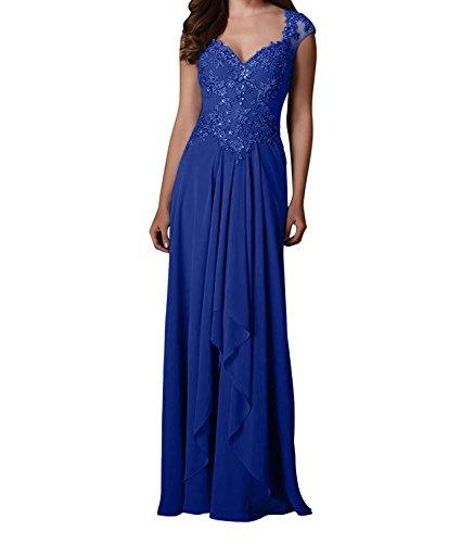 Lang Damen Partykleider Chiffon Royal Spitze Brautmutterkleider Blau Charmant Abendkleider Traube Festlichkleider xp0ZqnZFw