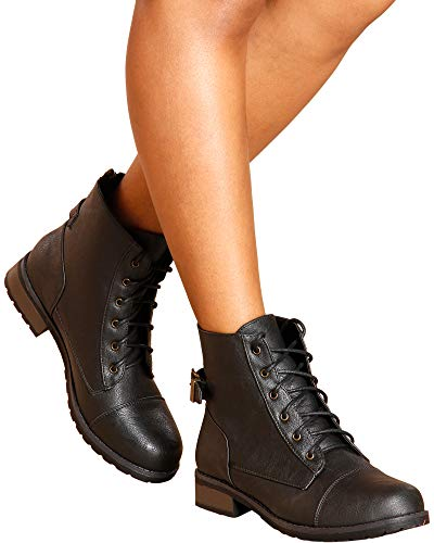 BAMBOO Women's Casual Almond Toe Lace Up Zip Up Military Fashion Combat Bootie/Boots
