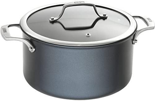 Bialetti 07465 Sapphire induction compatible nonstick hard anodized dutch oven stockpot with lid, 6 quart, Dark Blue
