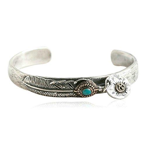 Daesar 925 Silver Bracelet For Men Feathers Opening Bracelet Silver by Daesar