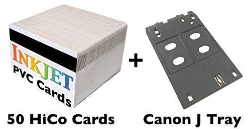 Inkjet PVC ID Card Starter Kit - Includes 50 HiCo Mag Stripe Cards - Compatible with Canon J Tray Printers (50 HiCo Magnetic Stripe Cards)