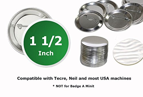 1.5 Inch Round Buttons (Pack of 100) Badge Metal Pin Parts ()