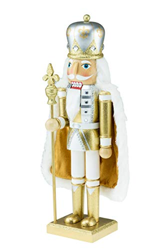(Clever Creations Wooden King Nutcracker | Wearing Gold and White Outfit and Cape with Staff | Festive Decor | Perfect for Shelves and Tables | 100% Wood | 14