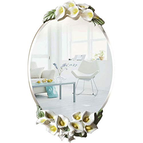 ZHPRZD Bathroom Mirror European Bathroom Mirror Waterproof Bathroom Fashion Horseshoe Lotus Wall -