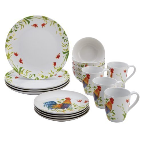 BonJour 16-Piece Dinnerware Meadow Rooster Stoneware Set by - Rooster Bonjour