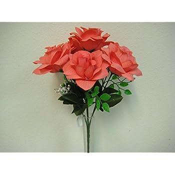 2 bushes coral open rose 7 artificial silk flower 15 bouquet 039cl