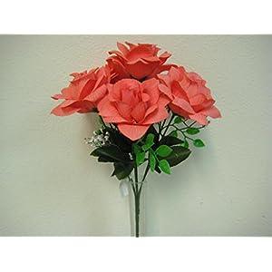 "4 Bushes CORAL Open Roses 7 Artificial Silk Flower 15"" Bouquet 039CL 102"