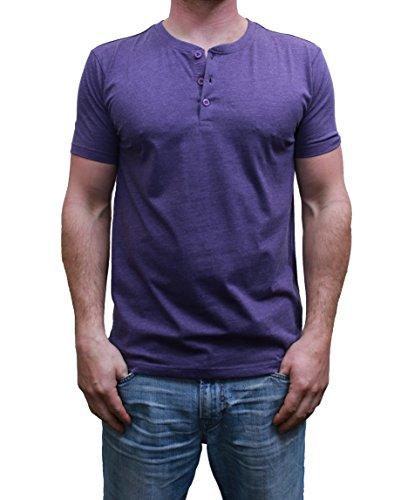 3 Button Shirt (Henley Mens  Short Sleeve TShirt with 3 Buttons, Deep Purple, Large)