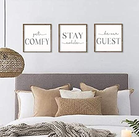 Bawansign Guest Room Decor Get Comfy Stay Awhile Be Our Guest Set Of 3 Wall Art Be Our Guest Signs Guest Bedroom Signs 12x12 Each Amazon Ca Home Kitchen