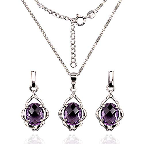 HAZZAR Real 925 Sterling Silver with Natural Purple Oval-Shape Amethyst Necklace & Earrings Set