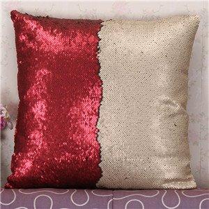 FairyTeller Diy Two Tone Glitter Sequins Throw Pillow Case Decorative Cushion Covers Capa De Almofada U6701