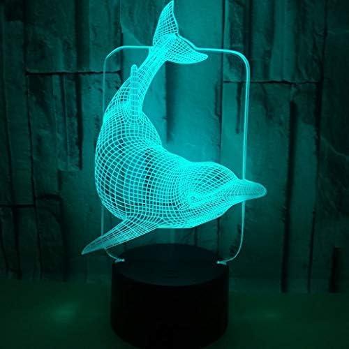 3Dナイトライトイルカの形クリアパターンカラフルな光透過率3Dステレオタッチスイッチ ZHJING