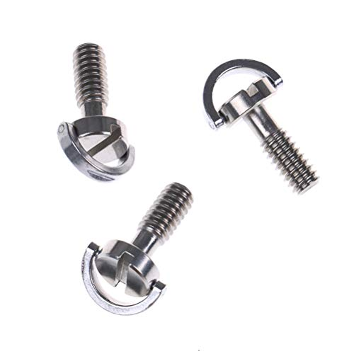 VizGiz 3 Pack 1/4 Quick Release Adapter Screw Pin Enhanced Long 21MM Flat Head D Shaft D Ring 1/4
