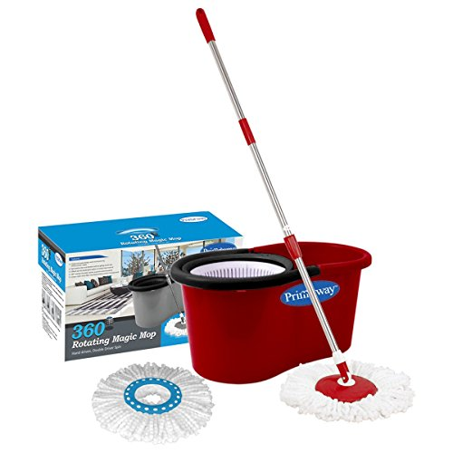 Primeway Magic Spin Mop and Bucket for 360 Degree Rotating Cleaning with 2 Microfiber Mop Heads, Red