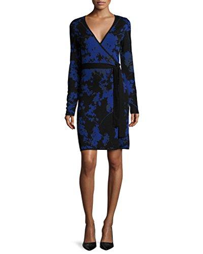 Diane von Furstenberg Women's Leandra Wrap Sweater Dress, Floral Daze Large Blue, Small -