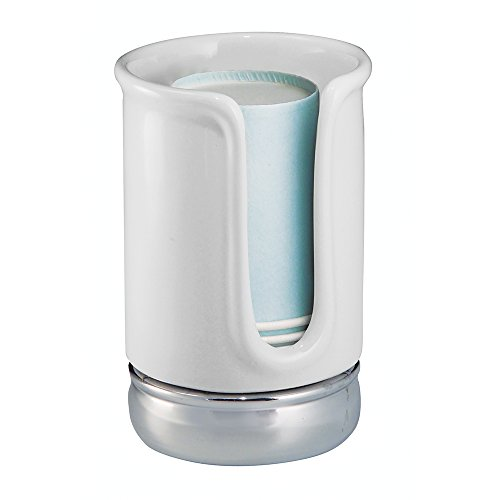 InterDesign York Ceramic Disposable Paper Cup Dispenser for Bathroom Countertops, White/Chrome