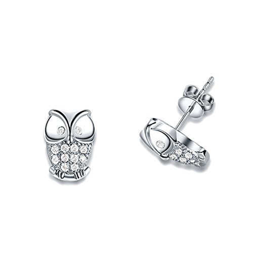 Price comparison product image Duo La Elegant Lovely Owl Cubic Zirconia Sterling Silver Fashion Lady Stud Earrings