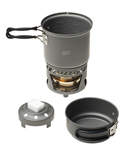 Esbit CS985HA 5-Piece Lightweight Trekking Cook Set with Brass Alcohol Burner Stove and 2 Anodized Aluminum Pots (Best Alcohol For Camping)