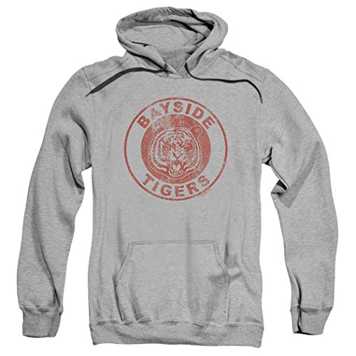 Saved by The Bell Bayside Tigers NBC Pull-Over Hoodie Sweatshirt & Stickers (Large) Gray -