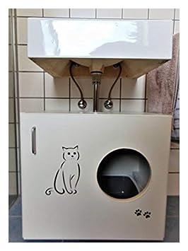 Hermes Muebles gato Armario Feline (WC felsa) B/T/H 60 x 41 x 53,5 cm, color blanco mate: Amazon.es: Productos para mascotas