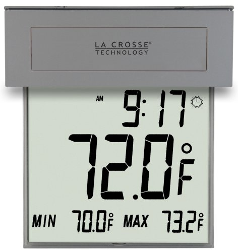 Digital Window Thermometer - La Crosse Technology 306-605 Solar Window Outdoor Thermometer with Nighttime Illumination and MIN/MAX Records with Auto-Reset