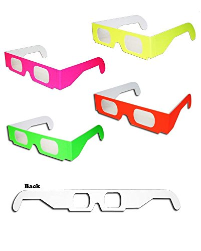 50 pairs 3D Fireworks Glasses Neon Multi-Starbursts of 3D Color for Fireworks Displays, Holiday Lights, Club/Concert Lights -