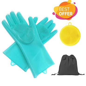 K Lightning Silicon Pair Gloves With Extra Brush and Bag - Dish Scrubber Rubber  Cleaning Sponge Dish Washing Brush Cleaning Magic Silicone Gloves Ideal For Kitchen Car Bathroom Pet Hair And More